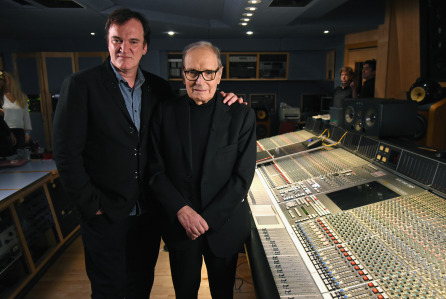 LONDON, ENGLAND - DECEMBER 09: Quentin Tarantino and Ennio Morricone pictured inside the control room at Abbey Road Studios ahead of the Live to Lathe Limited Edition Recording of the H8ful Eight Soundtrack on December 9, 2015 in London, England. (Photo by Kevin Mazur/Getty Images for Universal Music) *** Local Caption *** Quentin Tarantino; Ennio Morricone