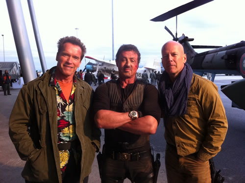 Arnold Schwarzenegger, Sylvester Stallone and Bruce Willis on the set of The Expendables 2