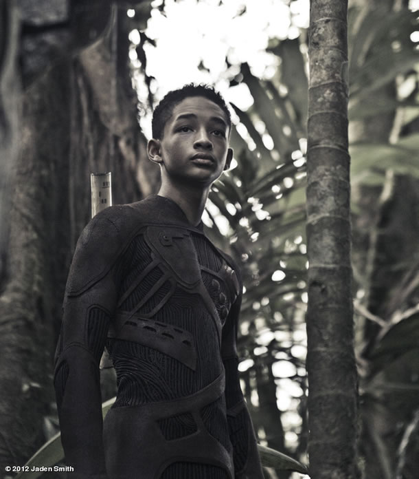 Jaden Smith on the set of After Earth