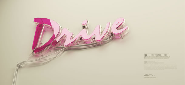 3D Neon poster design for Drive by Rizon Parein