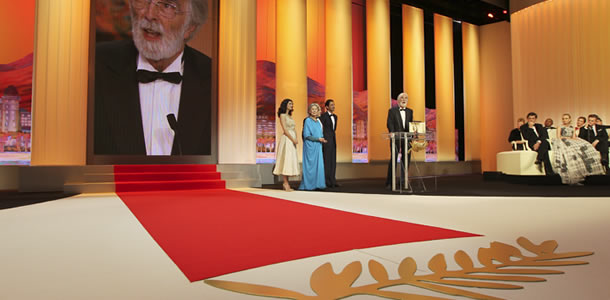 Michael Haneke accepts the Palme d'Or at the 2012 Cannes Film Festival