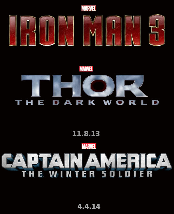 Logos for Captain America: The Winter Soldier, Thor: The Dark World and Iron Man 3