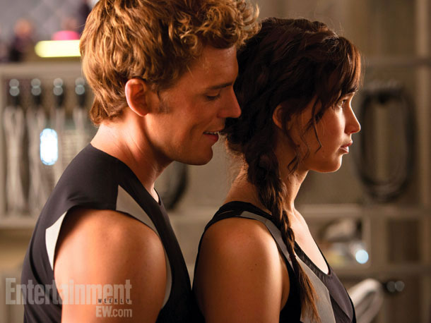 Sam Claflin and Jennifer Lawrence in The Hunger Games: Catching Fire