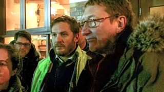 Tom Hardy and Steven Knight on the set of Locke