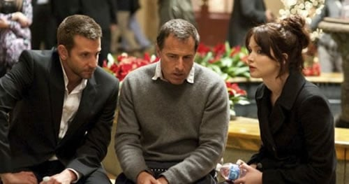 Bradley Cooper, David O. Russell and Jennifer Lawrence on the set of Silver Linings Playbook