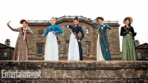 Ellie Bamber, Bella Heathcote, Lily James, Millie Brady and Suki Waterhouse in Pride and Prejudice and Zombies
