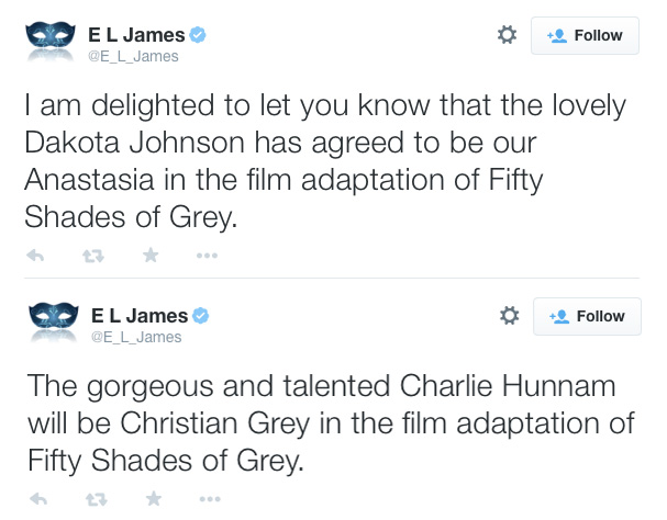 Charlie Hunnam, Dakota Johnson announced to play leads for Fifty Shades of Grey film.