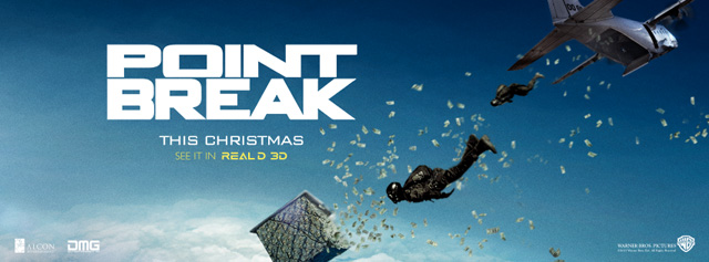 Warner Bros. Pictures has released the Point Break trailer and poster. The film is scheduled for release in 3D and 2D theaters on December 25.