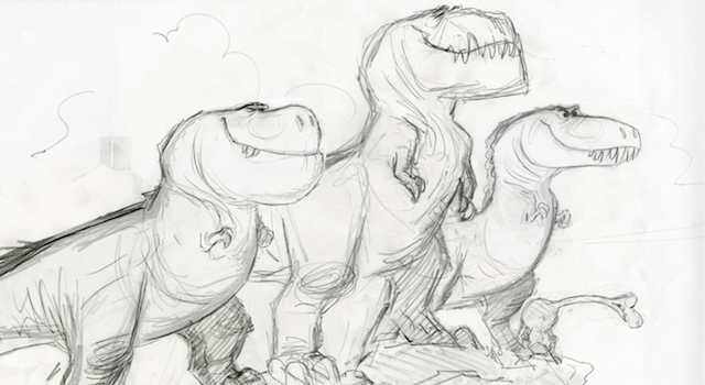 The T. Rexs enter The Good Dinosaur Story in some intriguing ways.