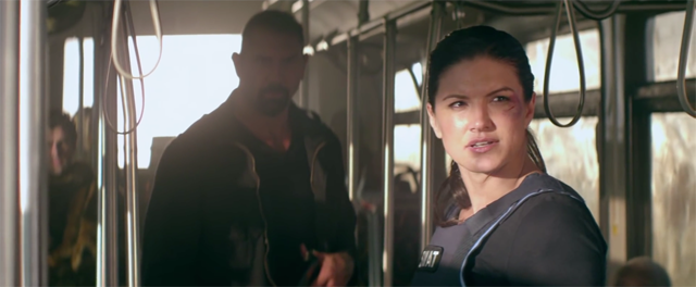 Gina Carano vs. Dave Bautista in a Clip from Heist.