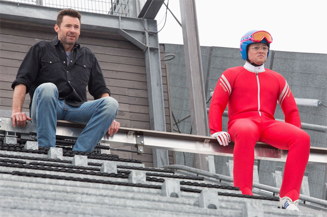 Eddie the Eagle Photos: Hugh Jackman Coaches Taron Egerton.