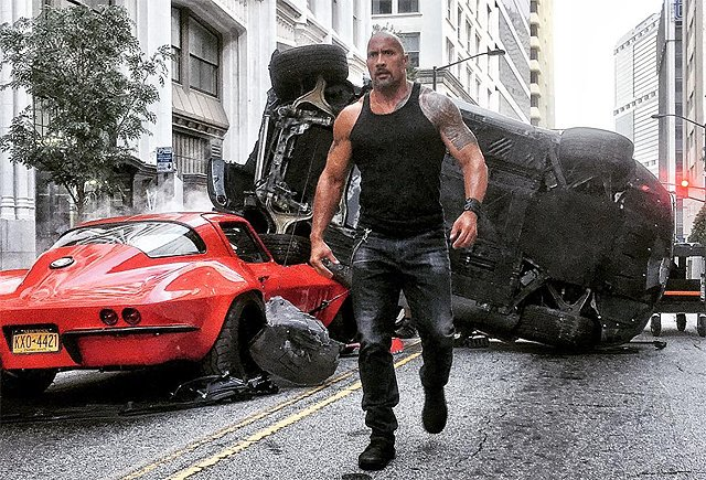 The Rock Takes Care of Business in Fast 8 Set Photo & Video