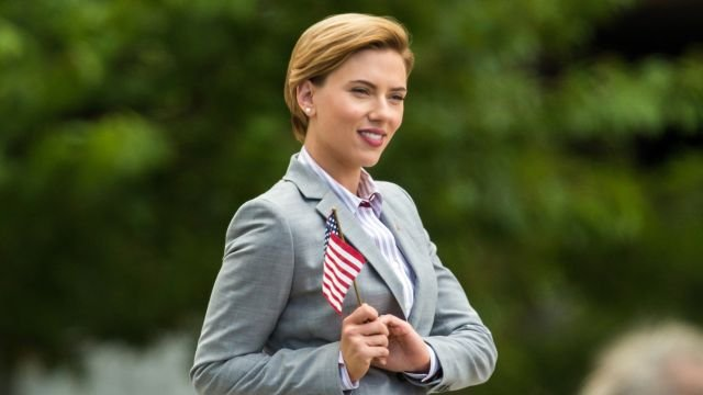 Scarlett Johansson Gets Patriotic in Rock That Body Set Photos