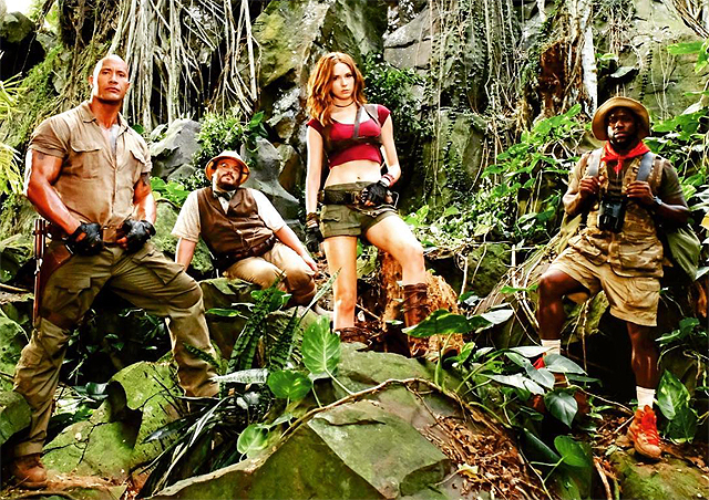 The Jumanji Cast Poses in the Jungle