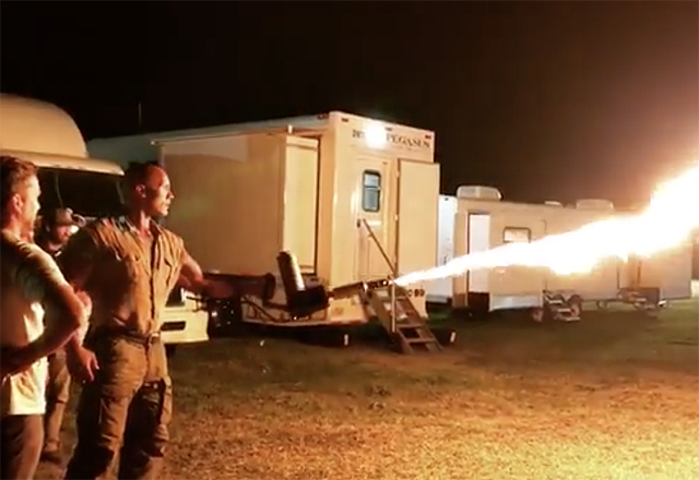 Dwayne Johnson Throws Some Flames in Jumanji Set Video