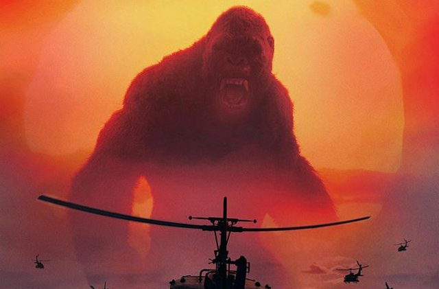 Kong vs Helicopters in New Skull Island IMAX Poster