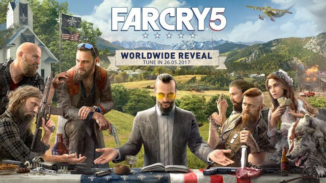 Far Cry 5 box art shows villains, airplanes, and chaos