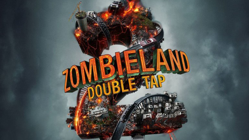 A fiery metal 2 with the Zombieland: Double Tap logo in front of it.