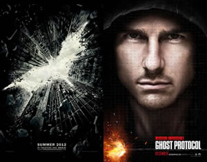Dark Knight Rises prologue in front of Mission Impossible 4