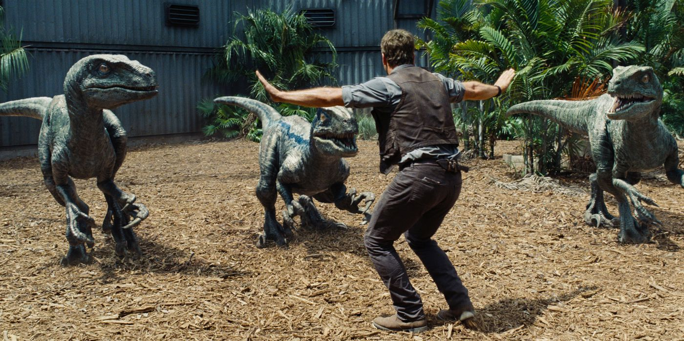 Velociraptors in JURASSIC WORLD (2015)
