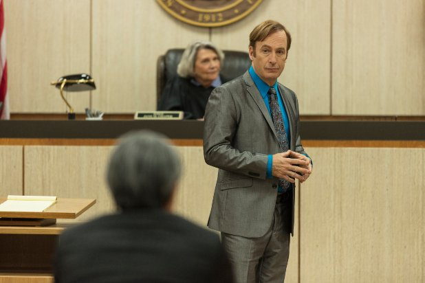 Bob Odenkirk as Jimmy McGill, Frances Lee McCain as Judge Chapak - Better Call Saul _ Season 5 - Photo Credit: Greg Lewis/AMC/Sony Pictures Television