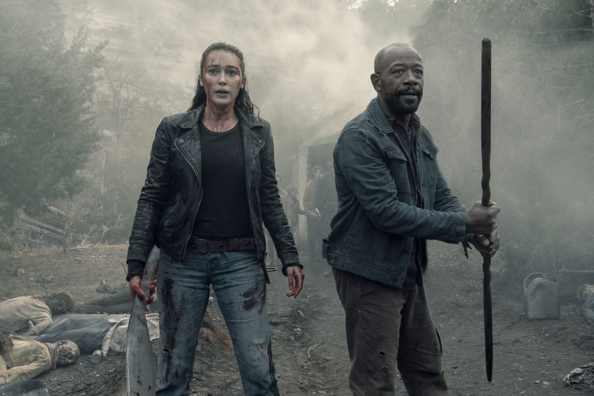 Alycia Debnam-Carey as Alicia Clark, Lennie James as Morgan Jones - Fear the Walking Dead _ Season 5, Episode 1 - Photo Credit: Ryan Green/AMC