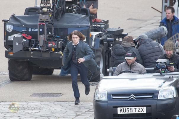 Daniel Radcliffe shooting scenes for Frankenstein in London. (WENN.com)