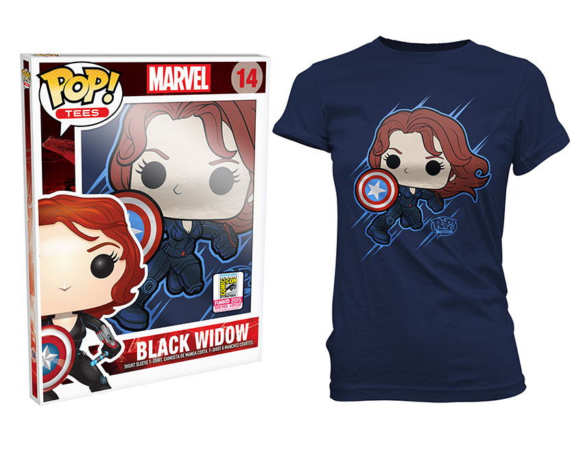 Pop! Tees: Marvel - Black Widow Shield (Women's Sizes Only)
