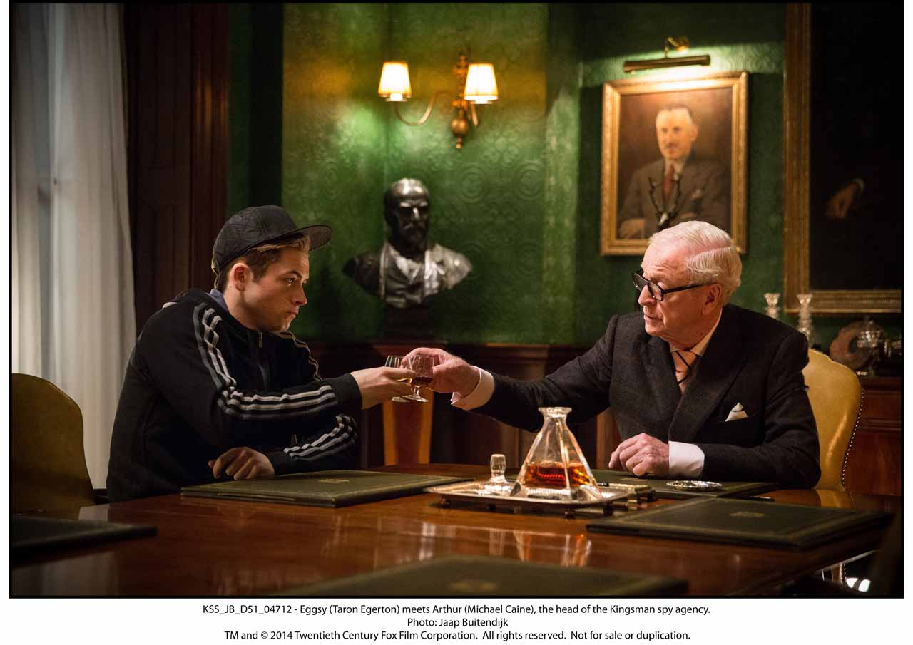 KSS_JB_D51_04712 - Eggsy (Taron Egerton) meets Arthur (Michael Caine), the head of the Kingsman spy agency.