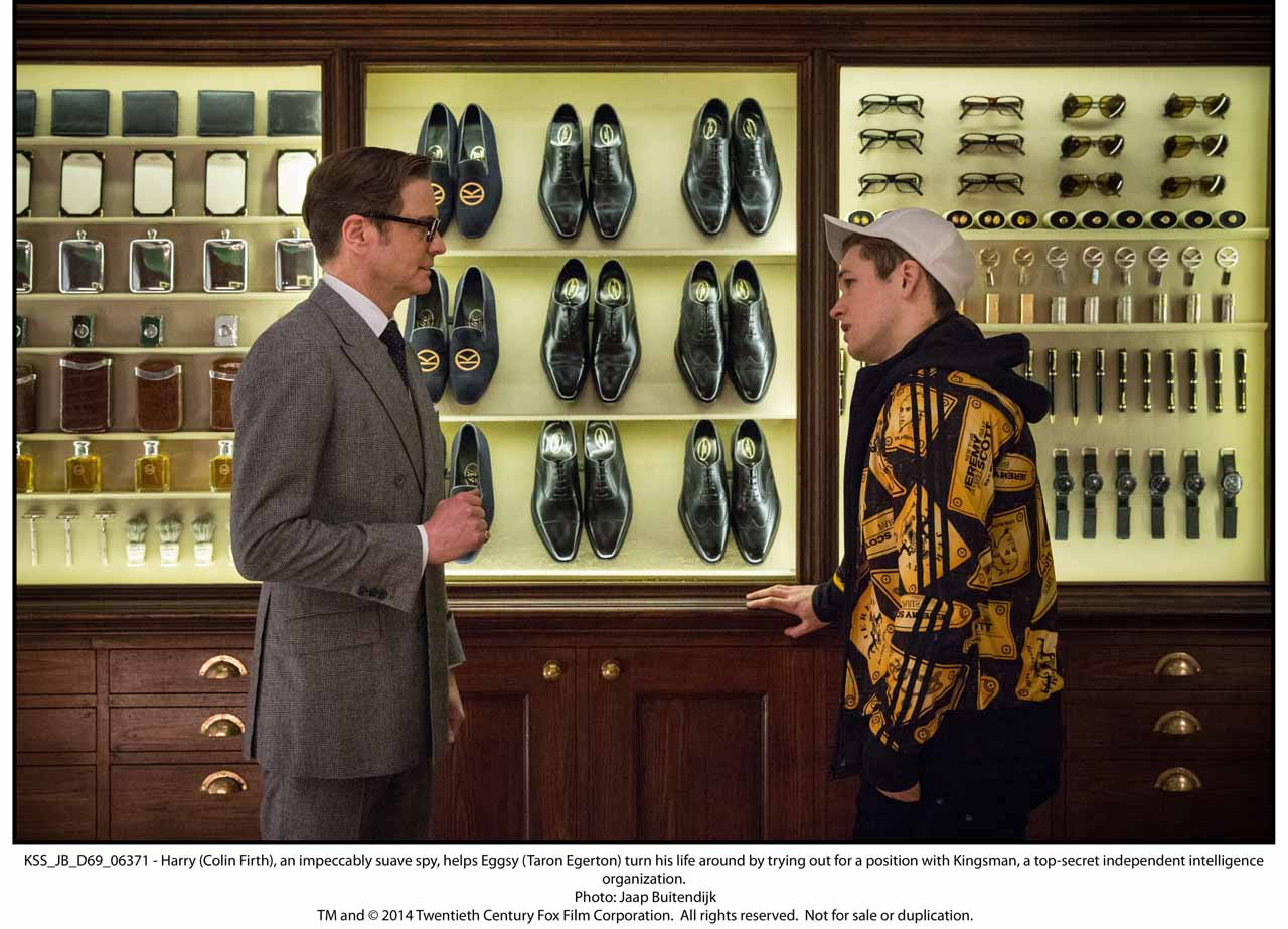 KSS_JB_D69_06371 - Harry (Colin Firth), an impeccably suave spy, helps Eggsy (Taron Egerton) turn his life around by trying out for a position with Kingsman, a top-secret independent intelligence organization.