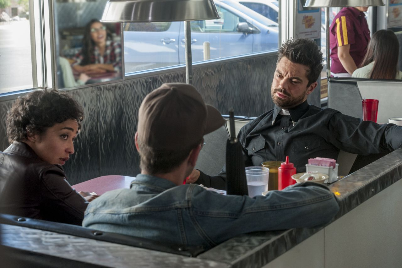 Dominic Cooper as Jesse Custer, Joseph Gilgun as Cassidy, Ruth Negga as Tulip O'Hare - Preacher _ Season 1, Episode 9 - Photo Credit: Lewis Jacobs/Sony Pictures Television/AMC