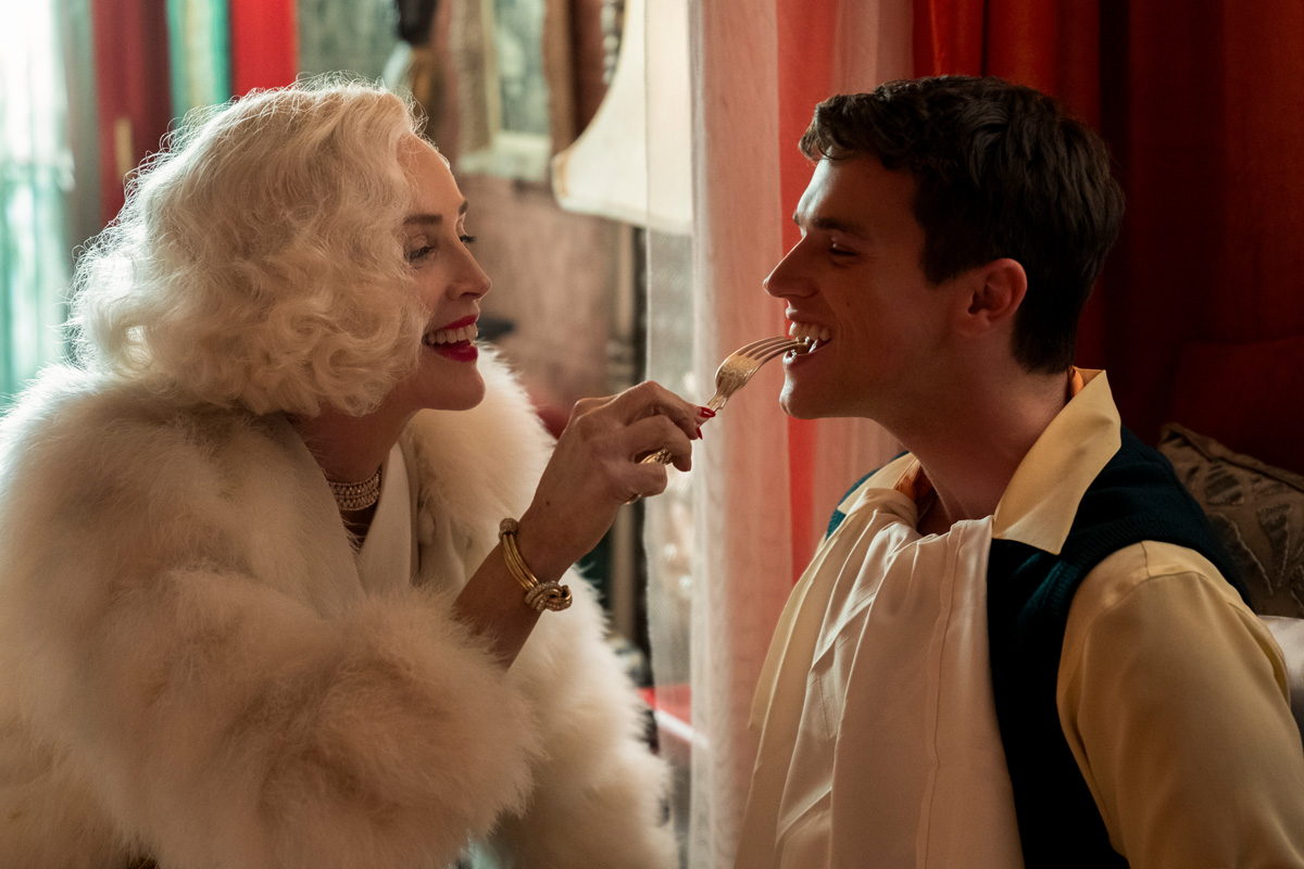 RATCHED (L to R) SHARON STONE as LENORE OSGOOD and FINN WITTROCK as EDMUND TOLLESON in episode 103 of RATCHED Cr. SAEED ADYANI/NETFLIX © 2020