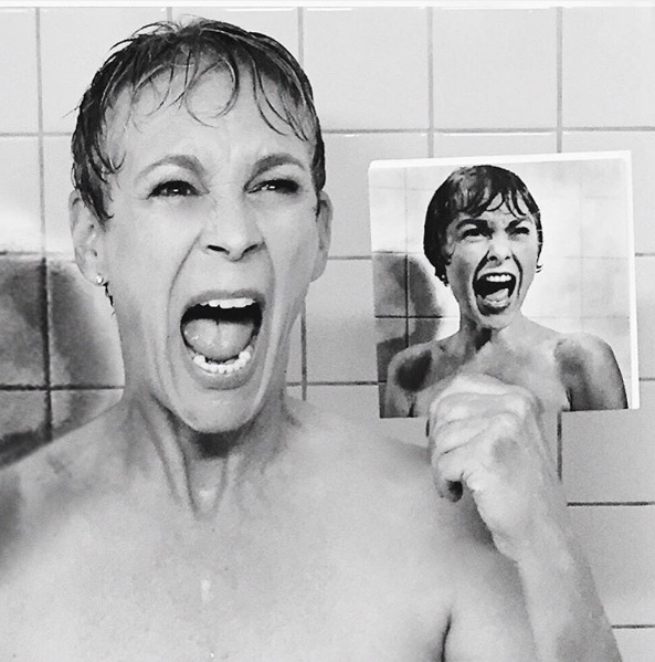 Jamie Lee Curtis recreates Psycho scene