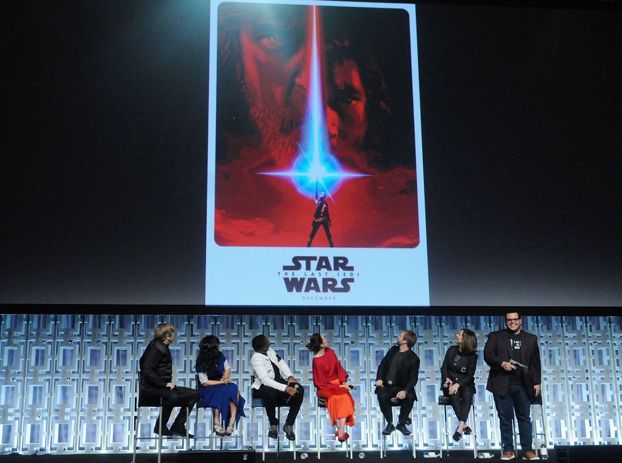 ORLANDO, FL - APRIL 14:  Mark Hamill, Kelly Marie Tran, John Boyega, Daisy Ridley, Rian Johnson, Kathleen Kennedy and Josh Gad attend the STAR WARS: THE LAST JEDI PANEL during the 2017 STAR WARS CELEBRATION at Orange County Convention Center on April 14, 2017 in Orlando, Florida.  (Photo by Gerardo Mora/Getty Images for Disney) *** Local Caption *** Mark Hamill;Kelly Marie Tran;John Boyega;Daisy Ridley;Rian Johnson;Kathleen Kennedy;Josh Gad