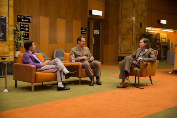 Jason Schwartzman, Jude Law and Wes Anderson on the set of THE GRAND BUDAPEST HOTEL.
