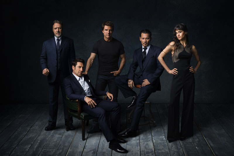 """""""Dark Universe"""" stars (L to R) RUSSELL CROWE, JAVIER BARDEM, TOM CRUISE, JOHNNY DEPP and SOFIA BOUTELLA"""
