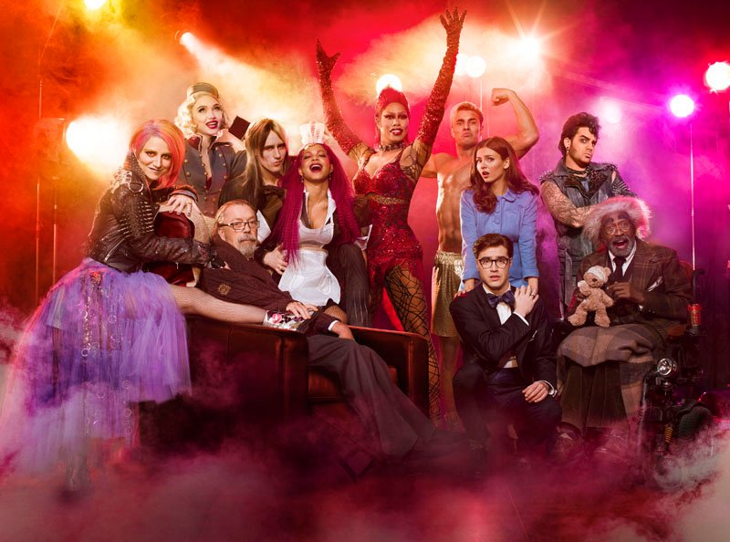 THE ROCKY HORROR PICTURE SHOW: LET'S DO THE TIME WARP AGAIN: L-R: Annaleigh Ashford, Ivy Levan, Tim Curry, Reeve Carney, Christina Milian, Laverne Cox, Staz Nair, Victoria Justice, Ryan McCartan, Adam Lambert and Ben Vereen in THE ROCKY HORROR PICTURE SHOW: LET'S DO THE TIME WARP AGAIN premiering Thursday, Oct. 20 (8:00-10:00 PM ET/PT) on FOX. ©2016 Fox Broadcasting Co. Cr: Miranda Penn Turin/FOX