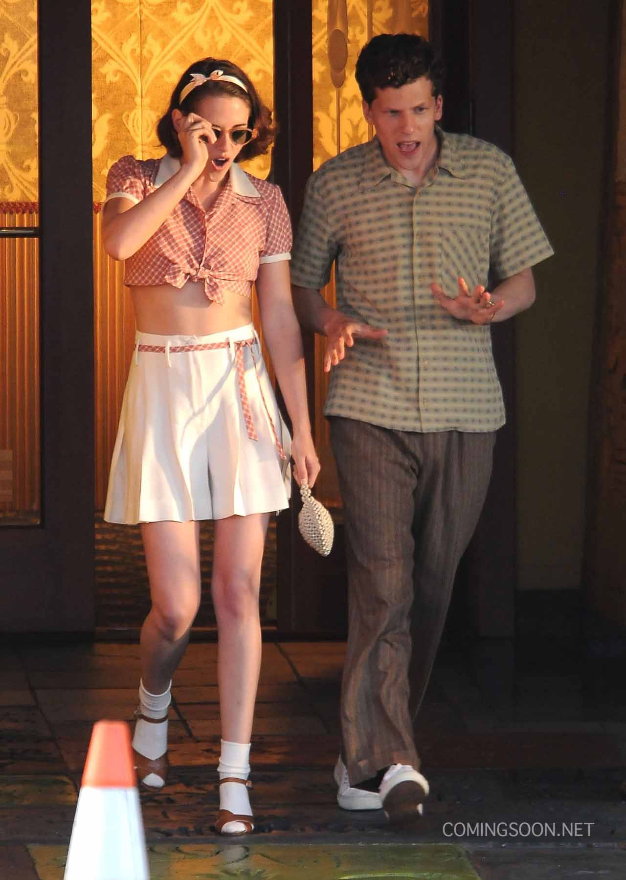 Kristen Stewart and Jesse Eisenberg on Woody Allen Set